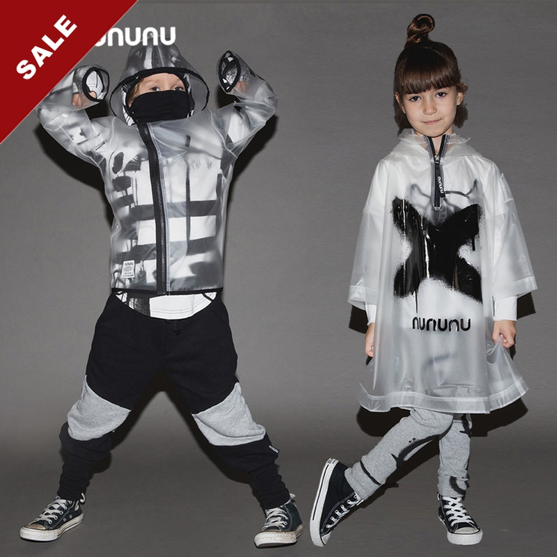 Autumn and winter 20 childrens transparent raincoat Cape Jacket personality hooded zipper super cool personality Cape