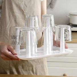 北欧色杯子架晾杯架家用置物玻璃托盘放茶杯咖啡挂架马克沥水杯架图片