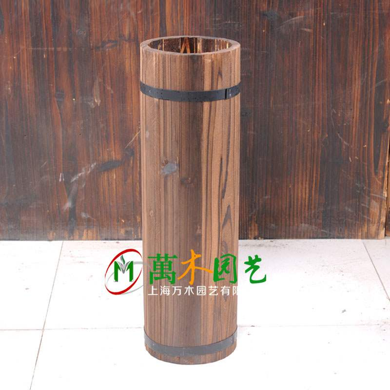 Wooden cask wooden flowerpot drum beer cask antiseptic wooden flowerpot flower rack carbonized wooden flowerpot flower vase vessel flower arrangement