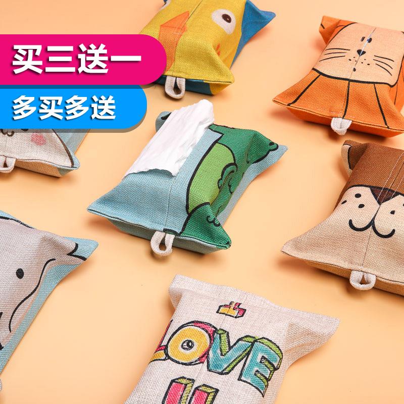 Корейский мультики льняная ткань ткань ткань животное бумажные полотенца крышка бумажные полотенца пакет домой автомобиль офис комната насосные мешок