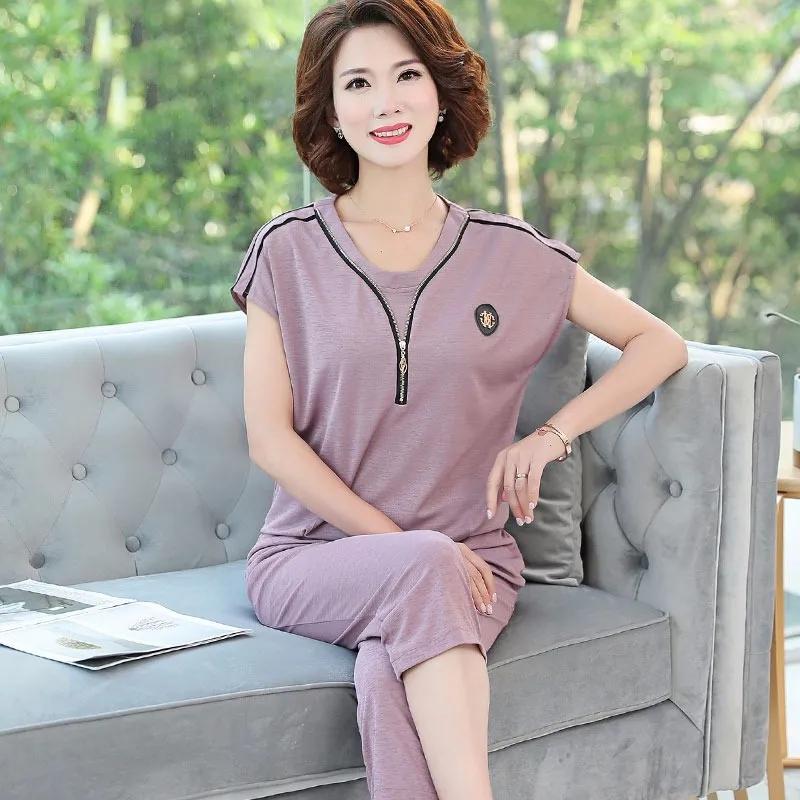 40岁-50岁妈妈装夏装套装中年女短袖T恤上衣中老年人女装夏季衣服