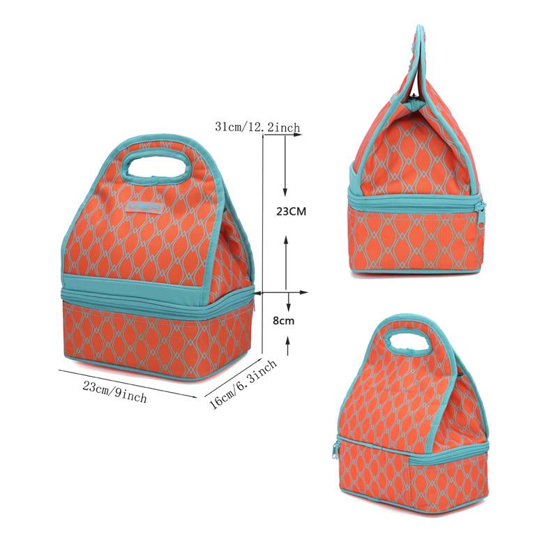 . Western style lunch box handbag womens thickened double-layer insulation bag to keep cool and fashionable lunch bag waterproof for going out