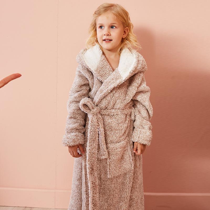 童装儿童加厚睡袍男女童秋冬季法兰绒浴袍中大童绒睡衣家居服