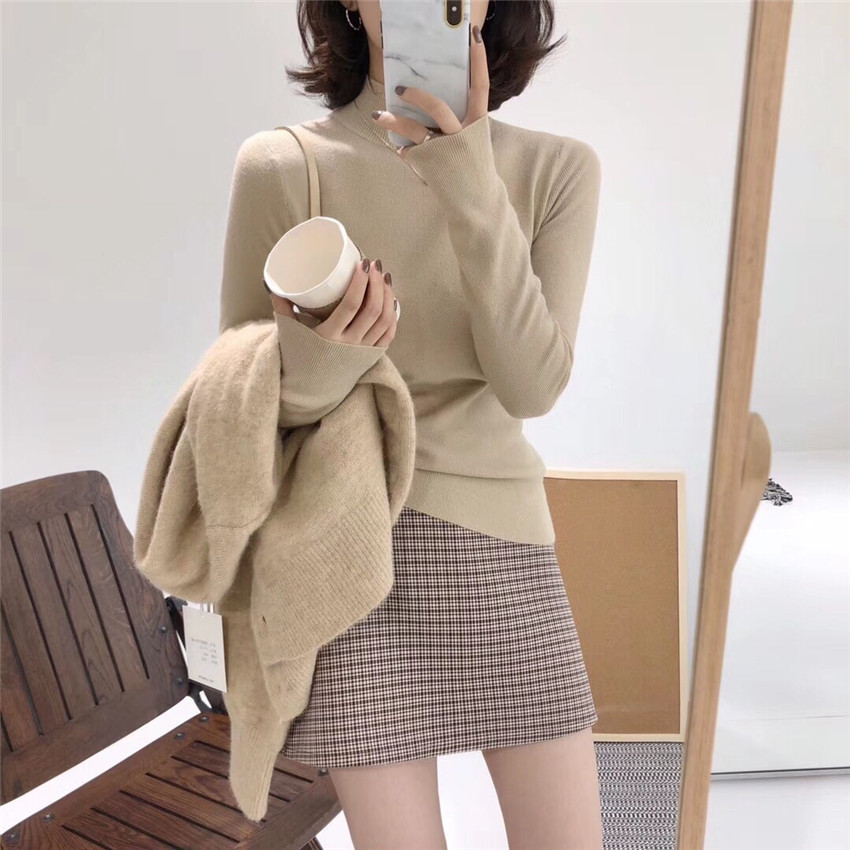 Autumn and winter skin friendly semi high collar temperament base coat womens gentle style basic elastic soft waxy close knit sweater