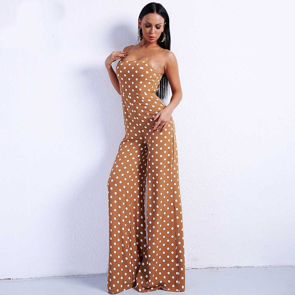 Zhang Yalings one-piece pants with female suspender and sexy off shoulder round neck Jumpsuit with T-shirt and versatile strap pants
