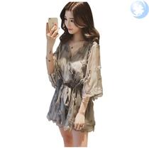 。夏装新款洋气时髦很仙的雪纺连体裤女大码高腰显瘦阔腿连衣短裤