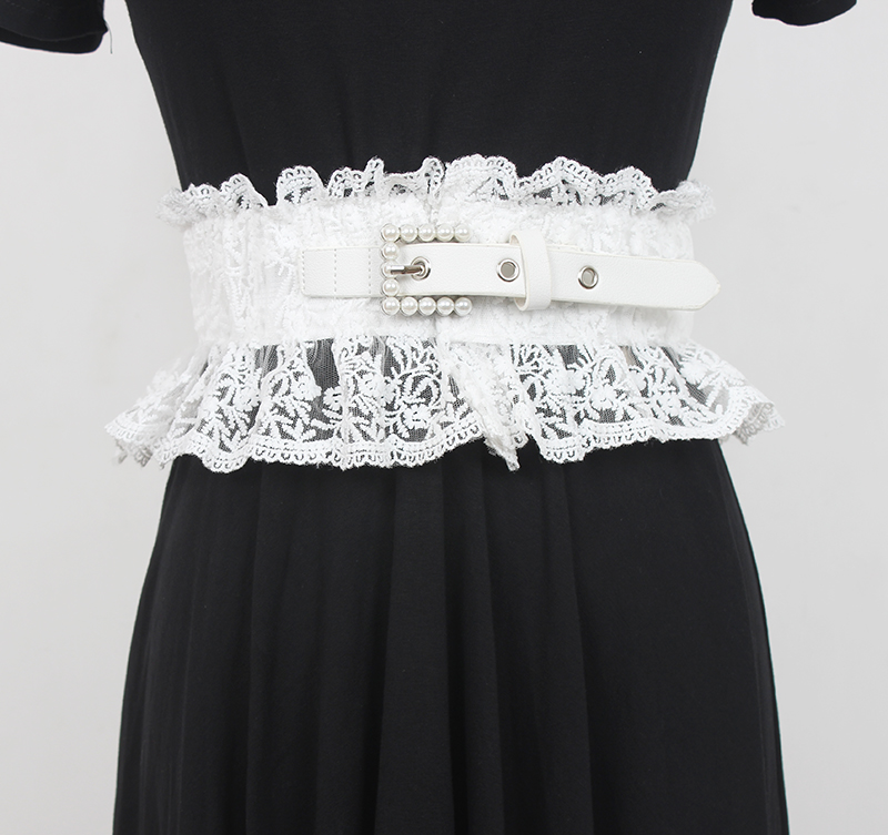 Fashion women Lace Waist closure lace hollowed out breathable ultra wide elastic embroidered belt skirt waist embroidered decoration