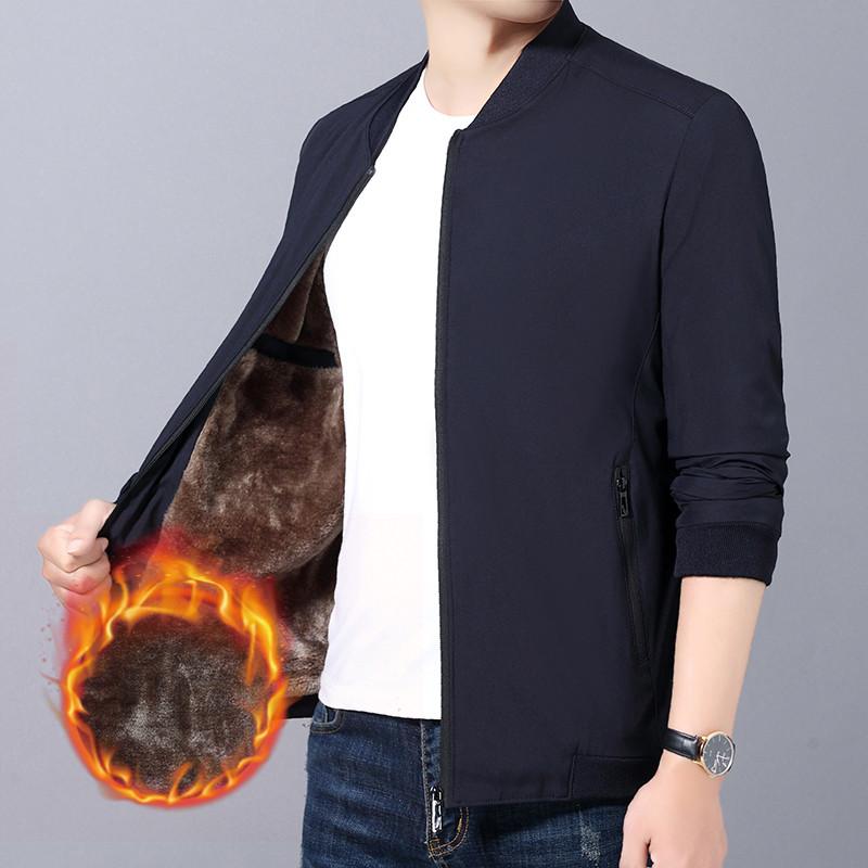秋冬季新品韩版中青年男式夹克衫商务休闲修身男外套加绒保暖上衣