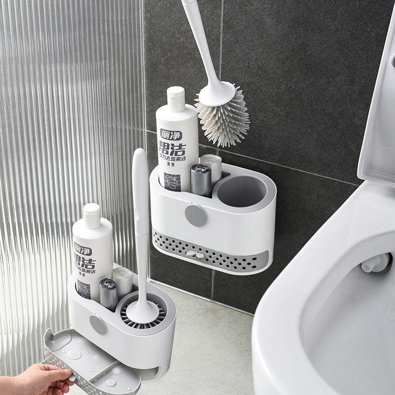中國代購|中國批發-ibuy99|刷子|硅胶马桶刷子洁厕刷家用挂壁式软毛套装带底座无死角多功能厕所刷