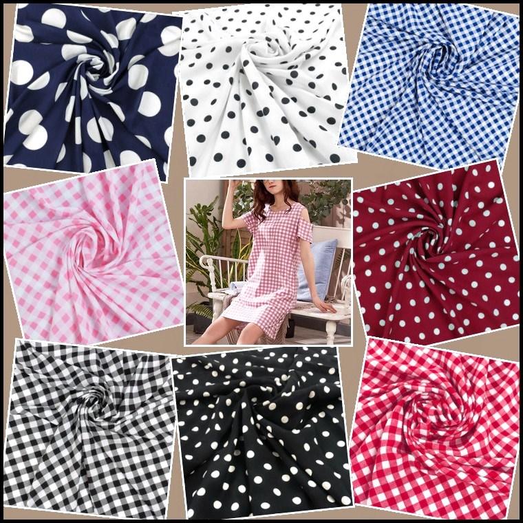 夏季衬衫连衣裙人造棉制衣棉绸黑白格子布料棉布波点百搭做衣服
