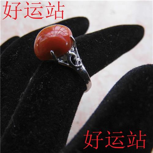 2019 Liangshan south red ring girl jade ring gem ring exquisite jade hand jewelry silver jewelry collection