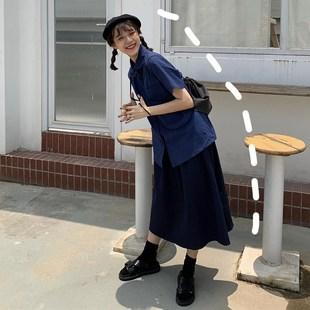 酷女孩女裝套裝裙子潮學院風秋季00後學生森系長裙閨蜜裝兩件套裙