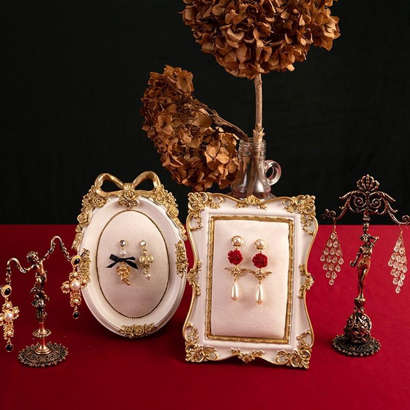 首饰展示架欧式摆件道具饰品创意相框拍摄耳饰耳钉耳环珠宝收纳架