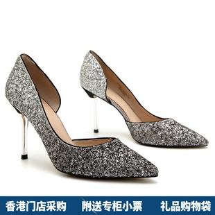 香港代購小CK水晶亮片女鞋側鏤空宴會性感尖頭細跟高跟婚鞋新娘鞋
