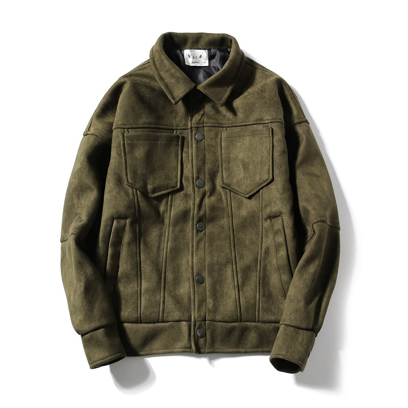 Japanese autumn and winter fall shoulder short suede jacket mens fashion youth Korean loose suede suede jacket mens wear