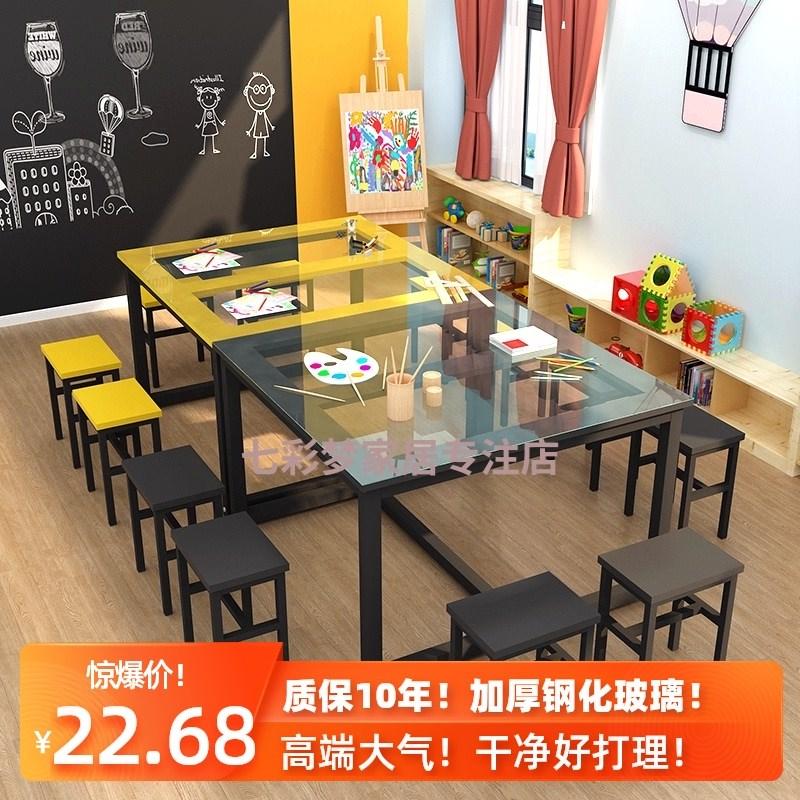 中國代購|中國批發-ibuy99|桌椅|幼儿园玻璃绘画桌美术桌学生补习辅导培训班课桌椅手工书法画室桌