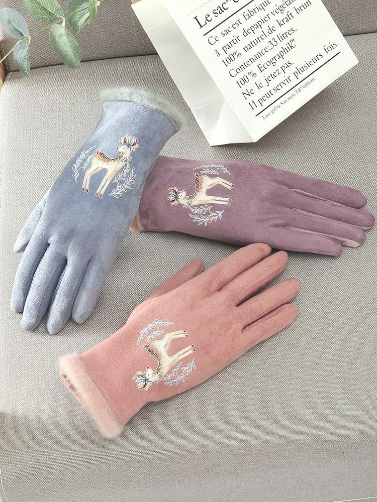 Gloves Winter womens warm and cold proof thickened cotton Plush five finger suede thin riding electric car autumn and winter