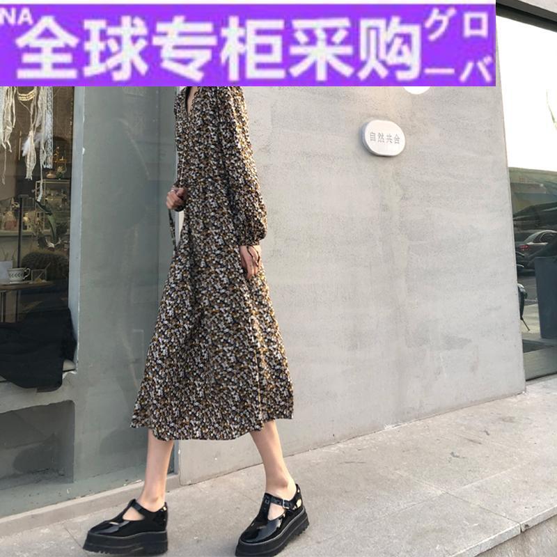 日本FH碎花连衣裙女秋季韩国复古高腰中长款A字裙宽松显瘦收腰雪