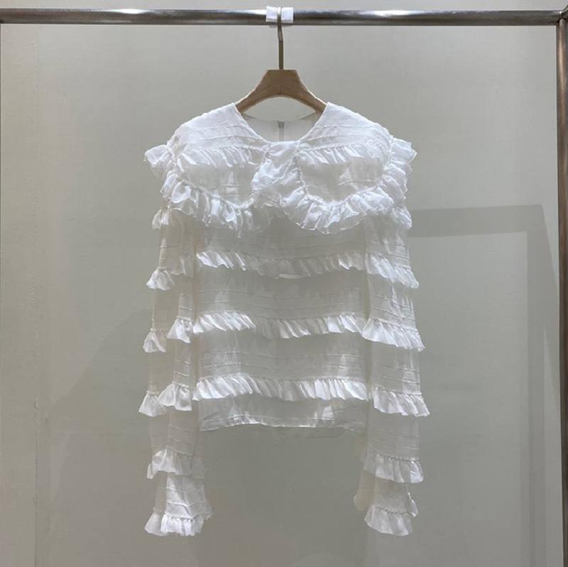 实拍2021春韩国东大门春装新款甜美娃娃领层层荷叶边长袖衬衫洋气
