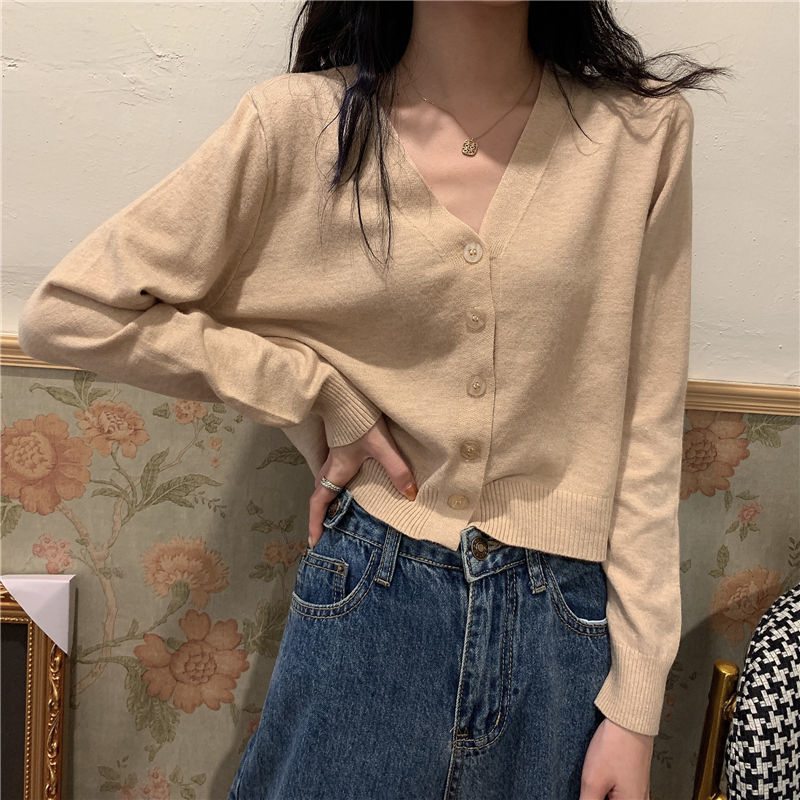2021新款春秋针织开衫女韩版短款V领内搭长袖薄款毛衣外套外搭