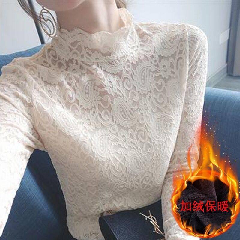 女士加绒保暖蕾丝内搭打底衫高领T恤女装