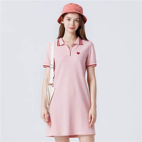 Cotton collar dress stitching color contrast French small h short skirt embroidered short sleeve skirt