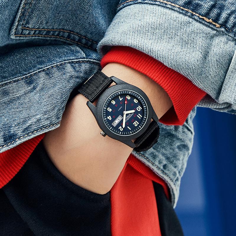 手表男潮流帆布小学生儿童男孩青少年中学生夜光防水指针式电子表