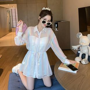 洋氣套裝女2020夏新款可鹽可甜寬鬆人魚姬防曬襯衫闊腿短褲兩件套