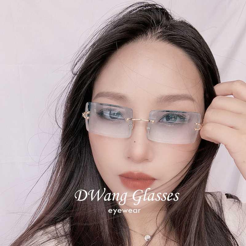 欧美Ins方框女墨镜渐变色切边无框太阳镜潮超美个性复古彩色镜片