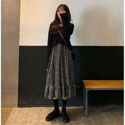 新款秋装2020新品大码女装微胖mm连衣裙两件套洋气显瘦套装女秋冬