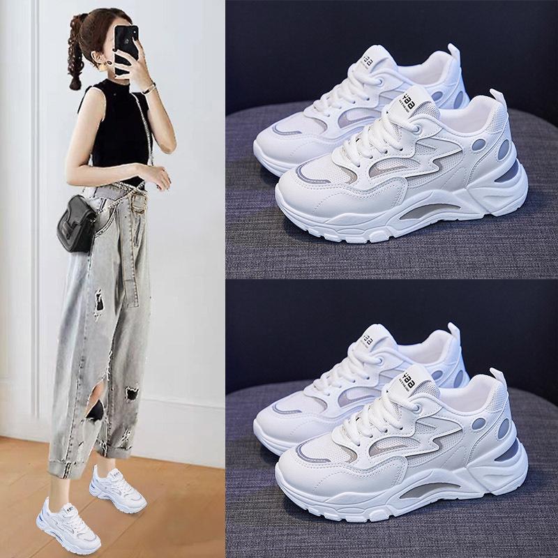 韩版老爹鞋女2021春季新款学生运动鞋女ins增高小白鞋女休闲
