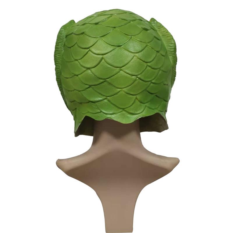现货绿鱼头乳胶面具绿头怪头套沙雕整蛊搞笑懵逼抖音Y鲤鱼搞怪道