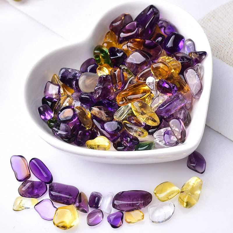 天然水晶紫黄晶消磁石原石大小颗粒碎石净化铺地盆栽招财转运装饰