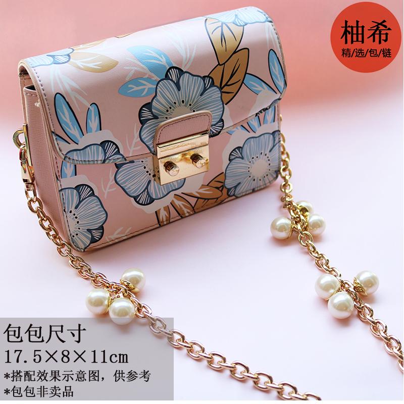 夏季时尚百搭韩版女包五金配件链条珍珠挂件中型包带斜挎手提单买