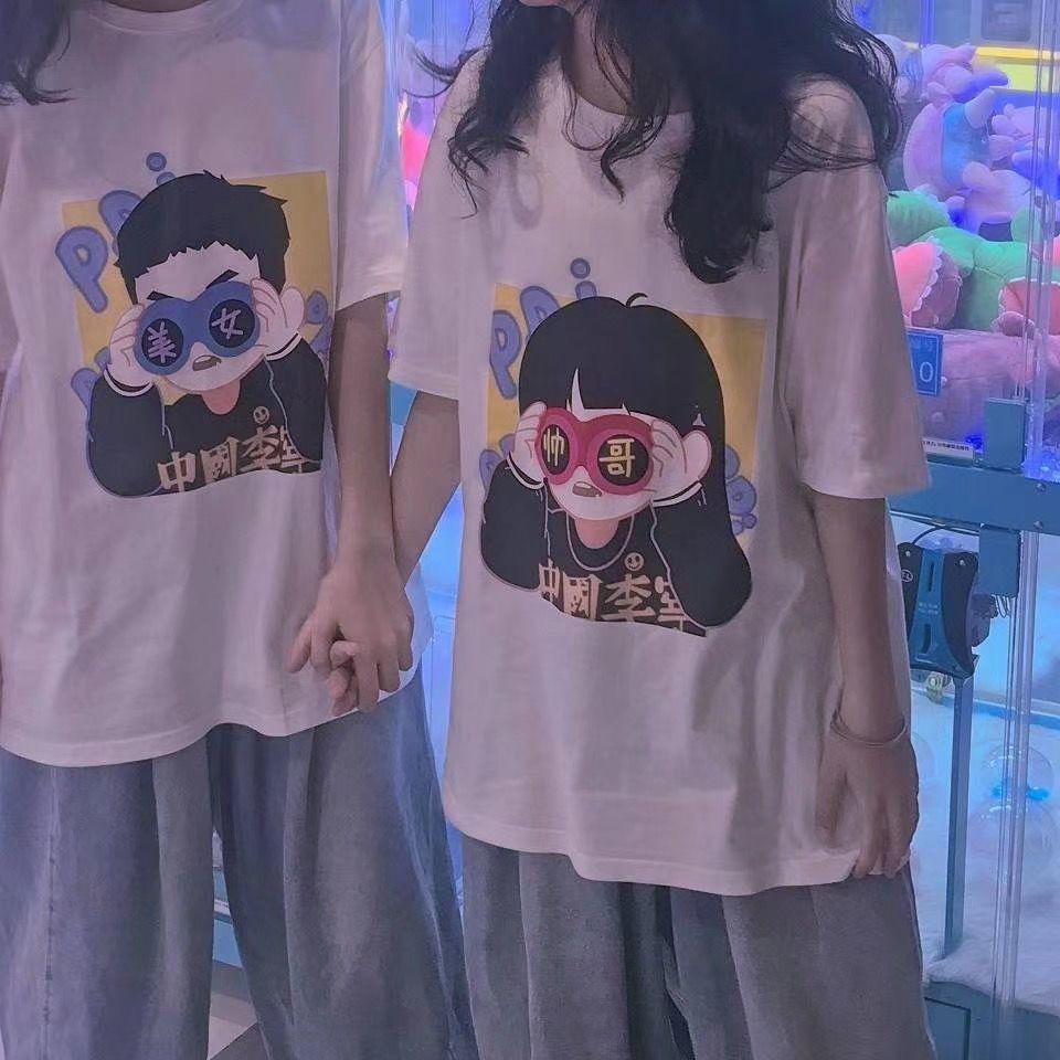 新款ins潮牌印花短袖t恤男女学生韩版宽松闺蜜情侣装原宿风上衣服