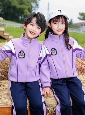 秋季幼儿园园服紫色拉链衫不连帽运动学院套装小学生校服儿童班服