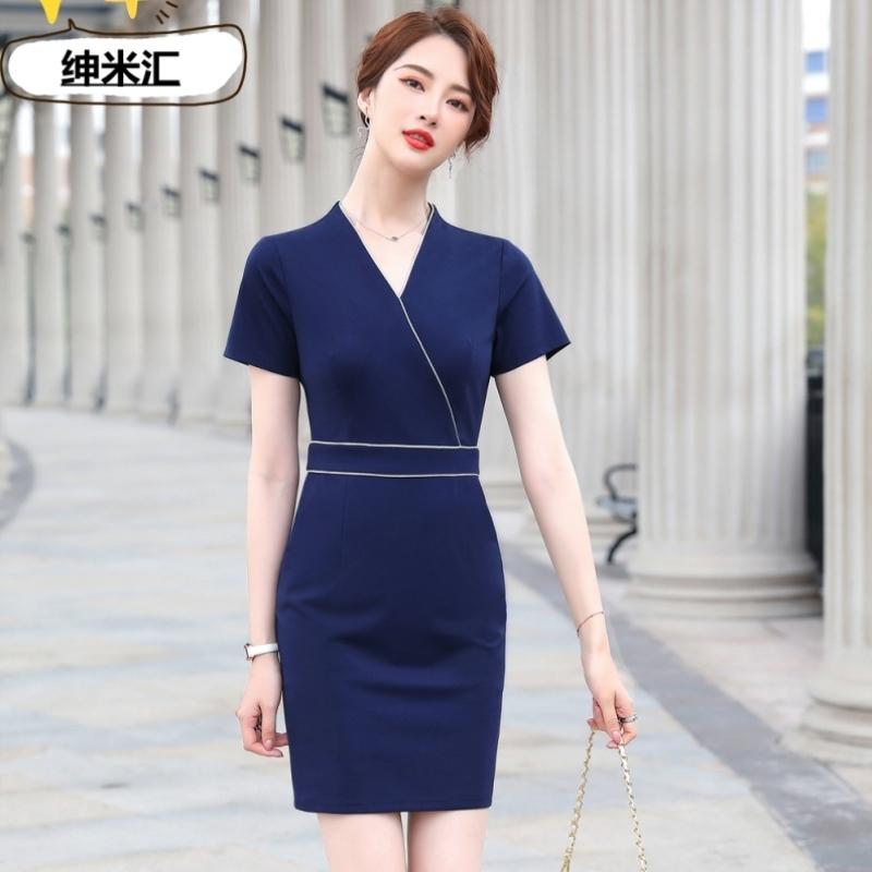 Elastic summer short sleeve professional dress large Hip Wrap ol professional dress jewelry store beautician stripe dress