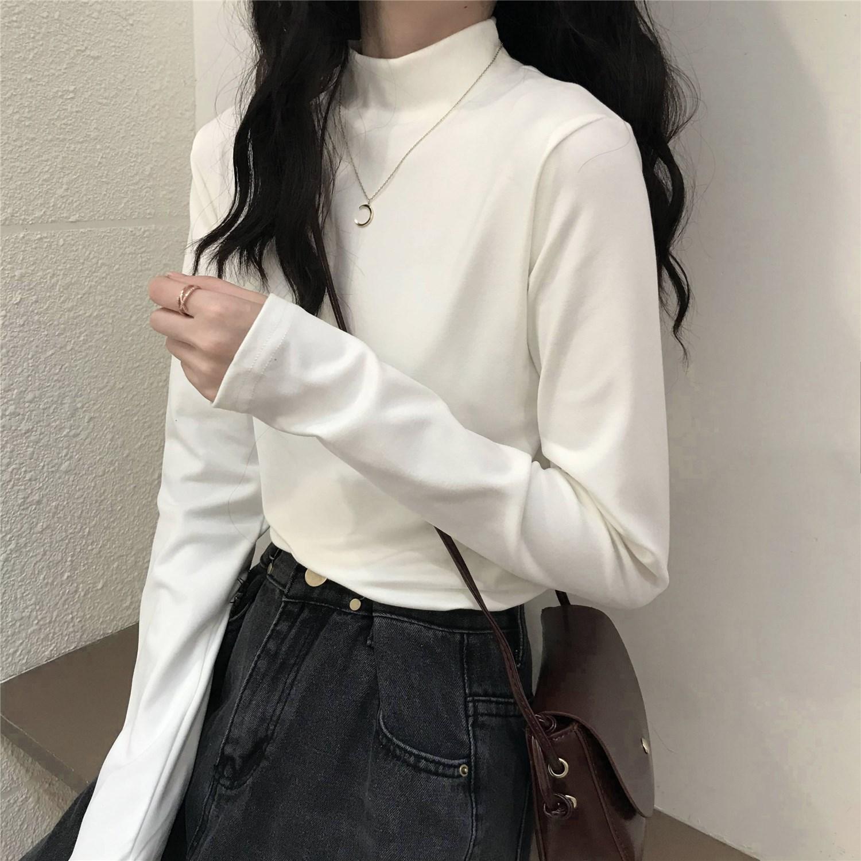 半高领打底衫女秋季2021新款内搭显瘦黑色长袖T恤小众别致上衣服