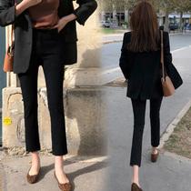 烟管裤黑色牛仔裤女直筒弹力高腰2021年春秋新款显瘦八九分微喇叭