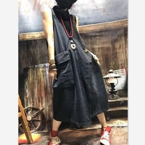 2019 spring literature and art strap skirt womens Siamese dress with large size slim big pocket denim casual loose skirt