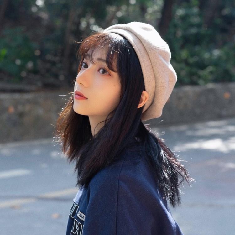 Soft [Morandi color] fine handle Wool Beret three dimensional pumpkin hat autumn and winter female Japanese