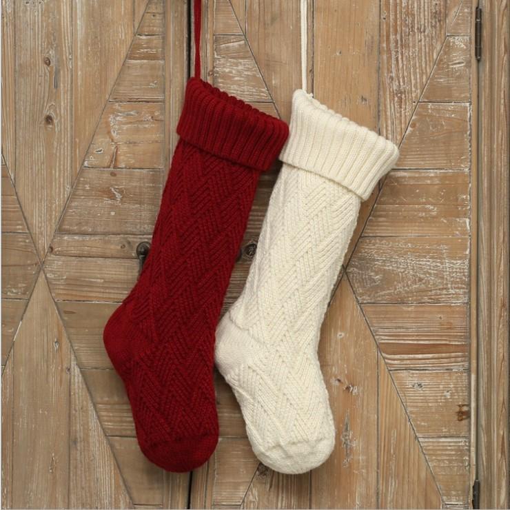 大号菱格针织圣诞袜子礼物袋装饰品家居挂袜圣诞布置壁饰毛线挂件