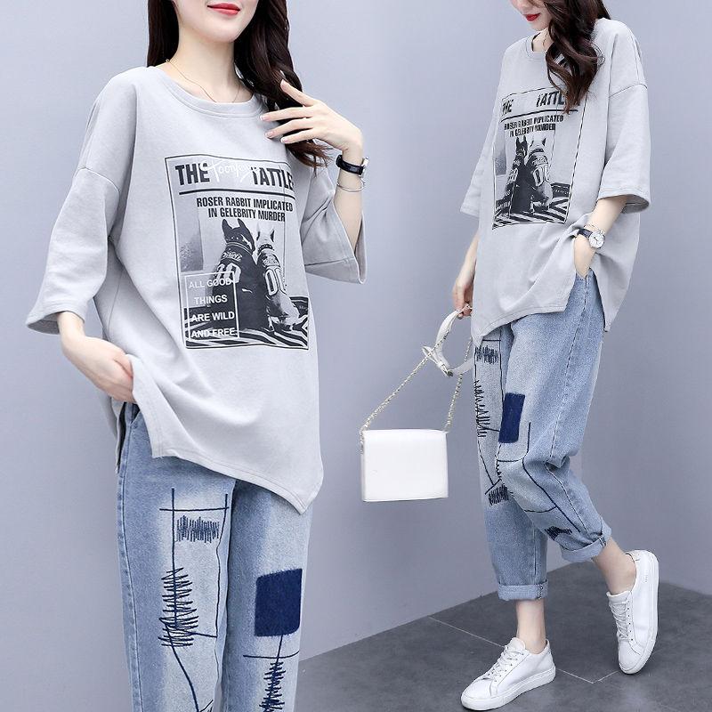 Av单件/套装 新夏季新款韩版T恤大码女装宽松休闲牛仔裤洋气两件