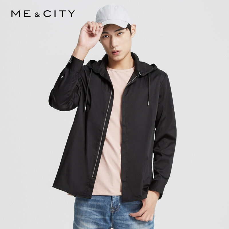Tag price ¥ 499 mens detachable hooded personalized shirt 527187
