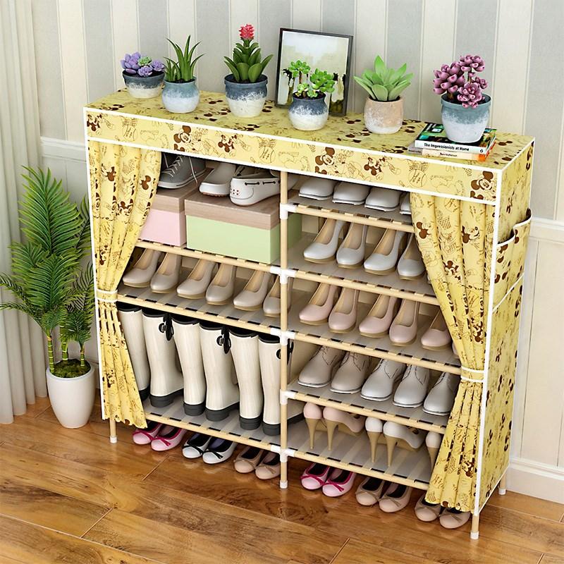 Shoe shelf canvas interlayer thickened cloth art shoe cabinet simple Oxford cloth belt zipper moisture-proof storage cabinet wood University