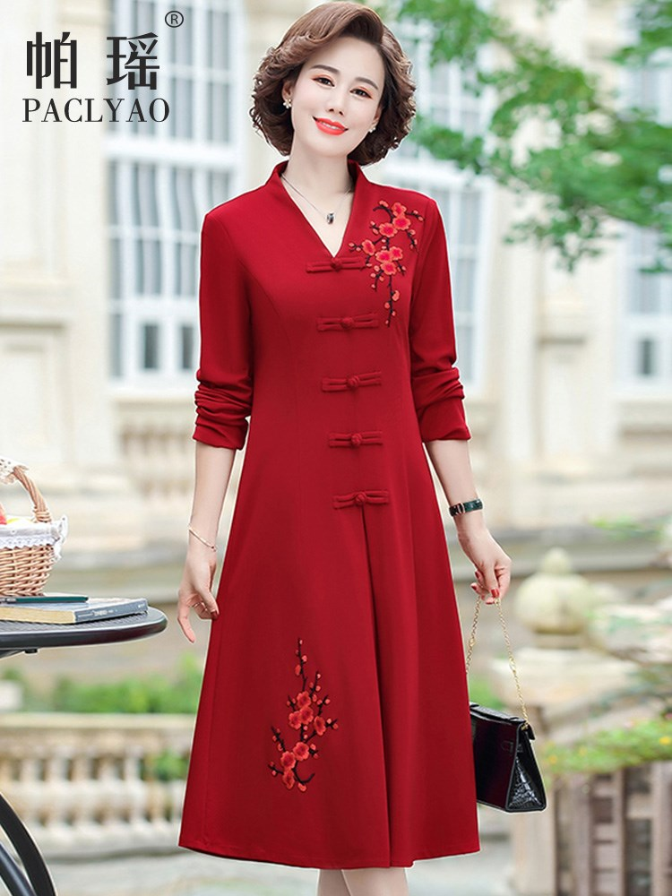 Wedding mother autumn dress hi mother-in-law mother-in-law 40 or 50 years old can usually wear dress wedding dress autumn