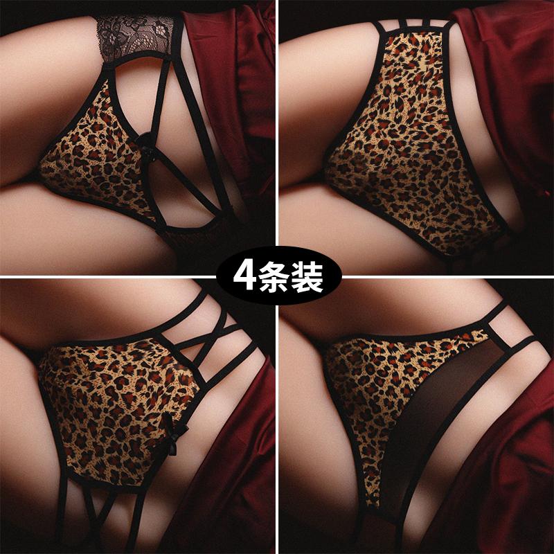 豹纹内裤女性感蕾丝诱惑绑带三角裤女士欧美丝中低腰纯棉裆短裤