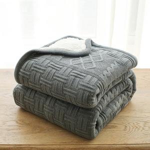 全棉针织毯毛线盖毯羊羔绒复合毯冬季毛毯加厚保暖毛绒毯子线毯
