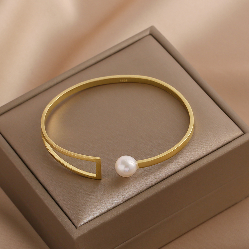 Genuine geometric single freshwater pearl bracelet for women