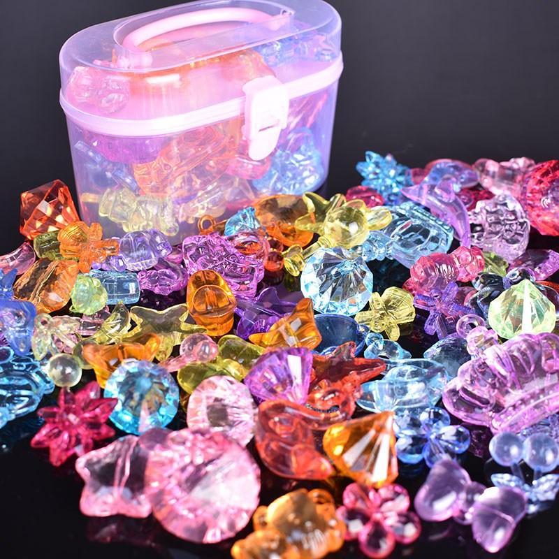 儿童宝石项链首饰diy编织绕珠串珠公主玩具穿珠创意材料手工